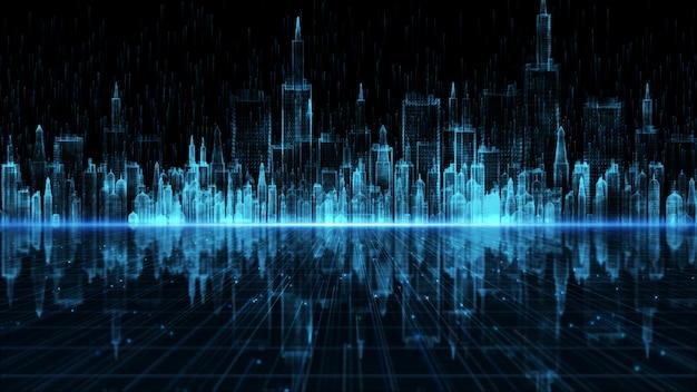 Город цифров, цифровое виртуальное пространство с частицами и концепция предпосылки сетевых подключений цифровых данных.