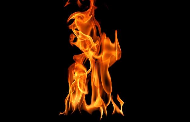 火の炎は黒の背景に抽象化します。