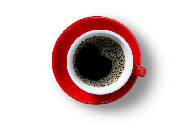 ブラックコーヒーの赤いマグカップ