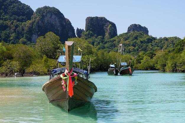 背後にある他のボートと青緑色の水のアジアボート