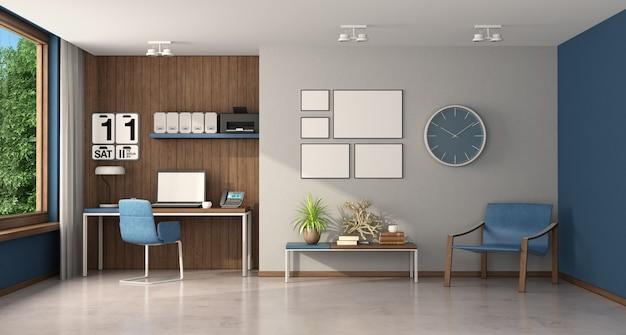Работа на дому в большой комнате с письменным столом и креслом