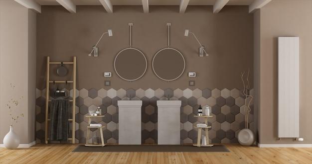 ダブル洗面台付きのエレガントなバスルーム