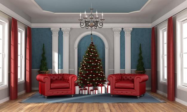 豪華なリビングルームでクリスマスを待っています。