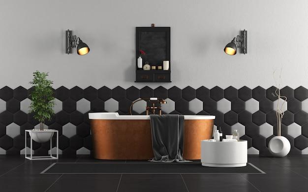 銅のバスタブ付きのレトロなバスルーム