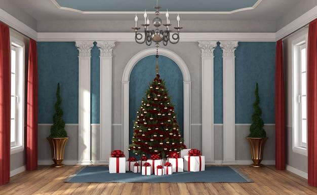 豪華な部屋でクリスマスを待っています。