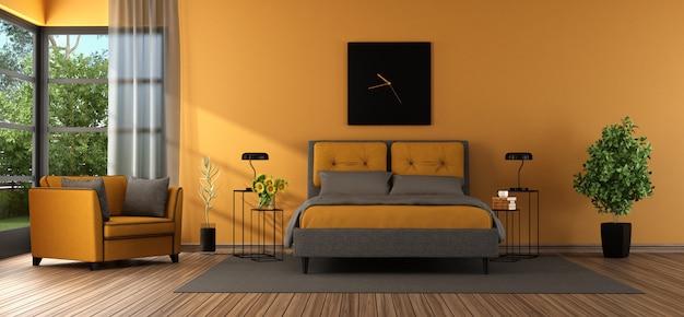 Серая и оранжевая главная спальня