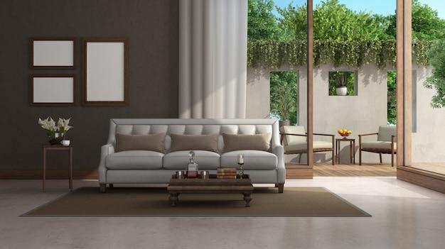 クラシックな家具と大きな窓のあるリビングルーム