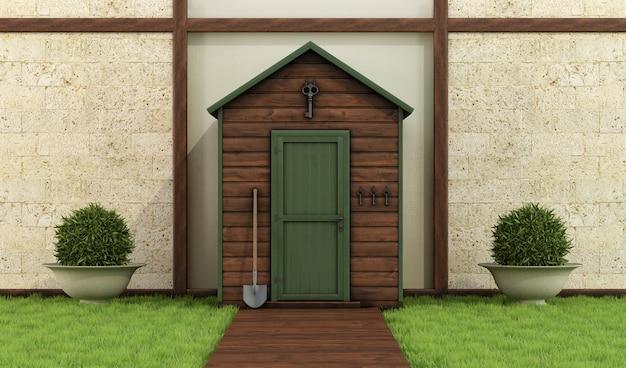 古典的な庭の木造の小屋