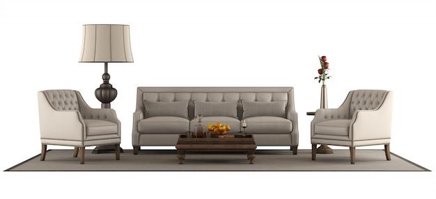 白い背景で隔離のクラシックなスタイルの家具セット