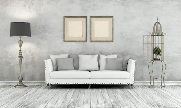 Номер в стиле ретро с классическим диваном и торшером