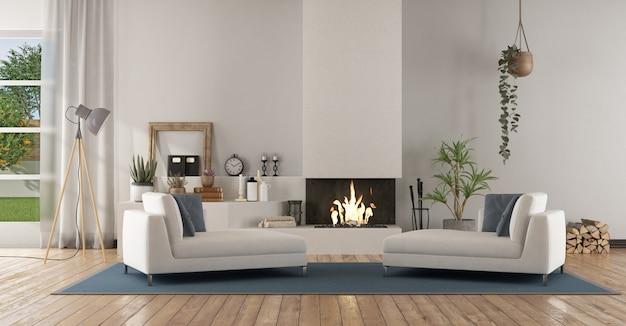 暖炉のある白いモダンなリビングルーム