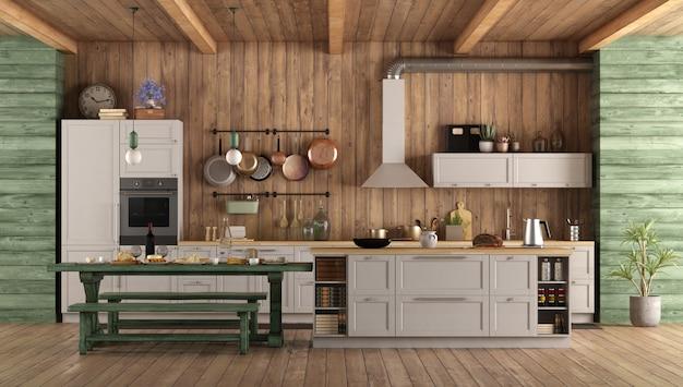 白と緑のレトロなキッチン