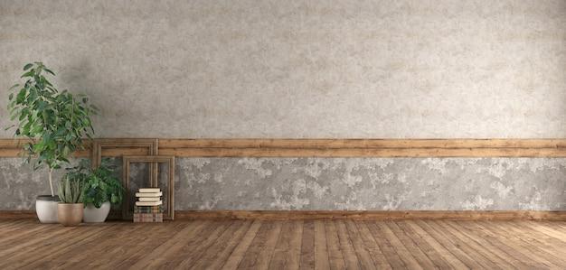 Пустая комната с деревянным полом и старой стеной