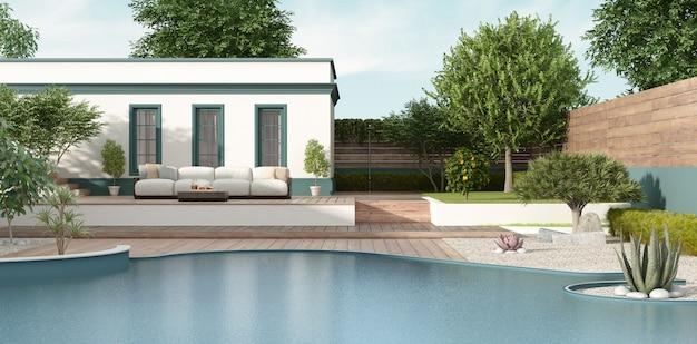 庭園とプールのある地中海風のヴィラ