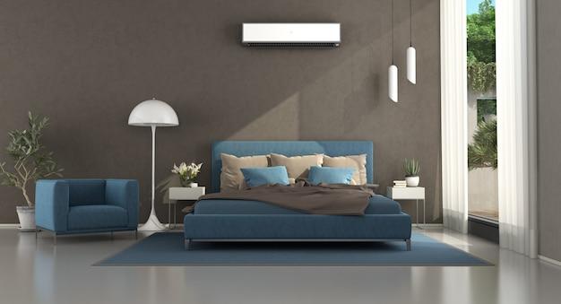 青と茶色のモダンなマスターベッドルーム