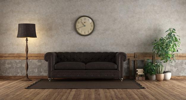 Ретро гостиная с кожаным диваном
