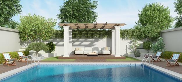 大きなプールのある豪華な庭園