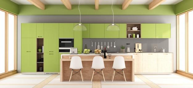 緑と灰色のモダンなキッチン
