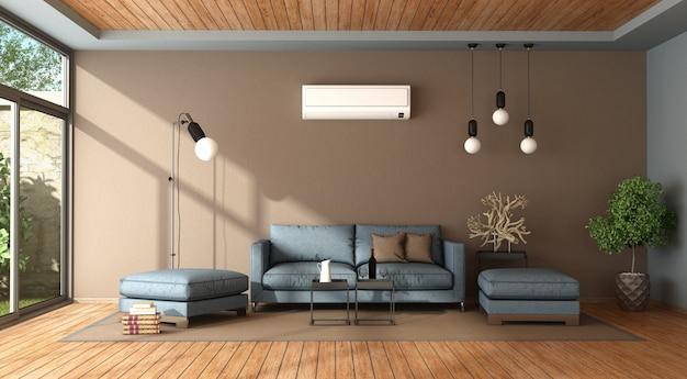 エアコン付きの青と茶色のリビングルーム