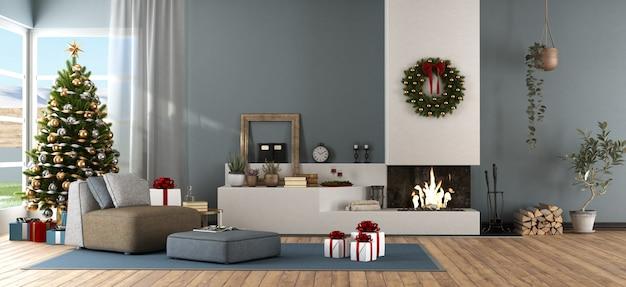 クリスマスの飾り付きのモダンなリビングルーム