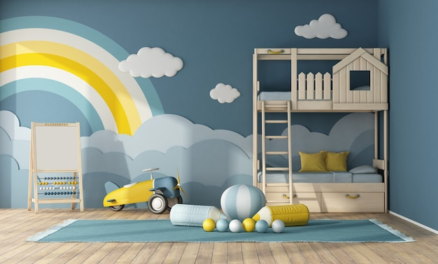 木製二段ベッド付きの子供部屋のインテリア
