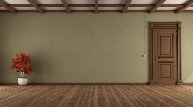 Пустая комната в стиле ретро с закрытой дверью