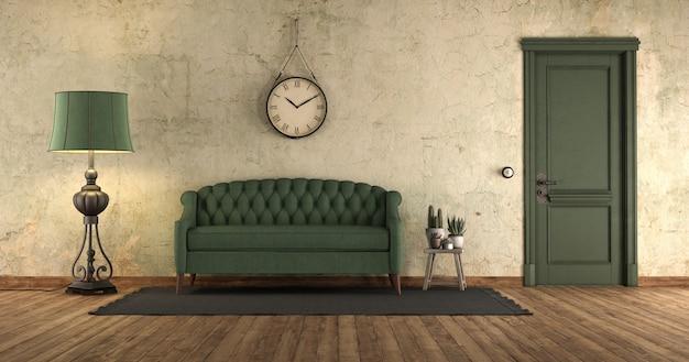 Гранж интерьер с зеленым диваном и дверью