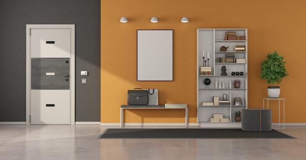 Серый и оранжевый дом с белой дверью и современной мебелью