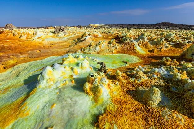 Данакиль депрессия даллол вулкан разноцветная кислота сера озеро