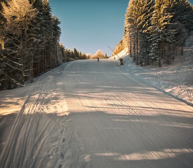 Много горнолыжников и сноубордистов в горах