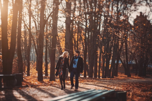 愛するカップルが手を繋いでいる公園を散歩します。