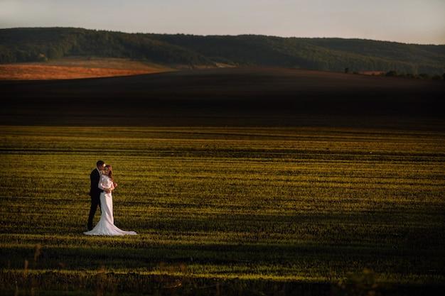 Невеста в объятиях жениха в весенних полях и голубое небо