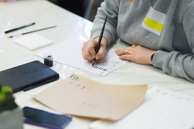 男は書道で実践されています。教育書道。学生は紙にペンとインクを書きます。