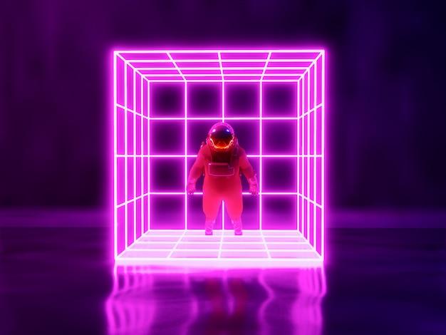 宇宙飛行士とネオンの光の背景