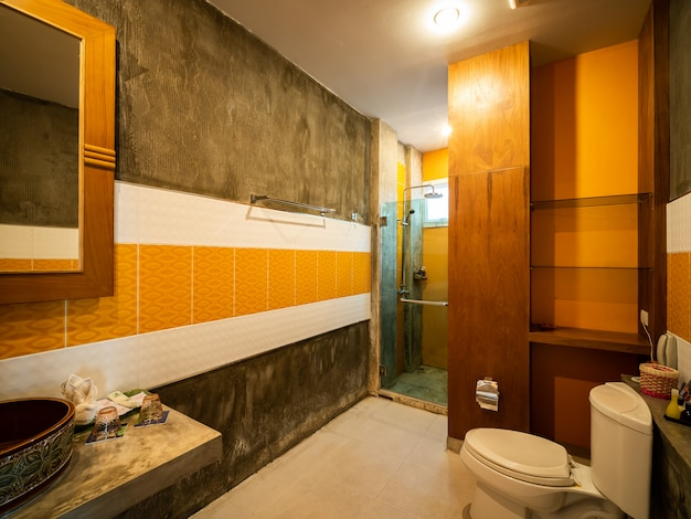 衛生陶器付きの豪華なバスルーム。