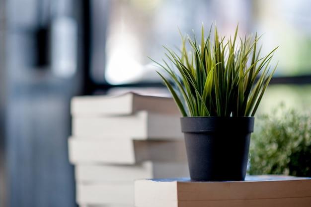 机の上に置かれた本たくさんの本、勉強のための美しい色