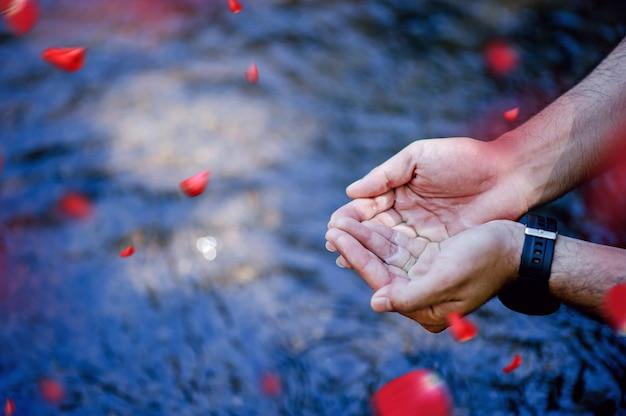 自然の滝から流れる手と水