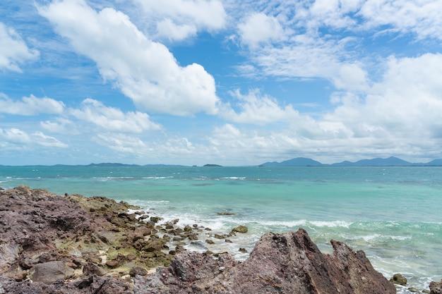 海の波が上から見える崖に砕ける