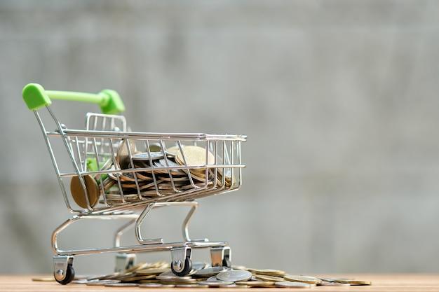 買い物かごにコイン(タイのお金)を集めることのお金の概念を保存する