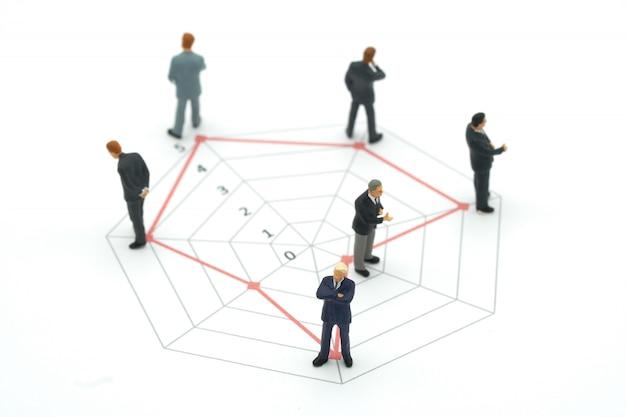 さまざまなスキルレベルのサークルグラフに立っているミニチュアの人々のビジネスマン