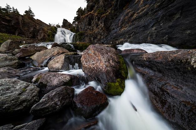 Пейзажная фотография водопада и ручья