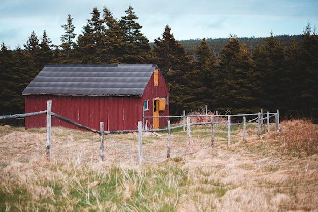 日中の緑の木々の近くの赤と灰色の木造の納屋の家