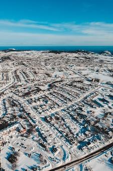 Аэрофотоснимок города зимой