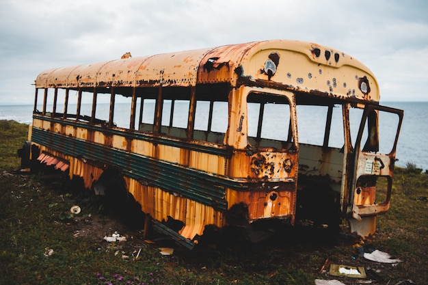 Заброшенный желтый автобус на зеленой траве возле водоема в дневное время