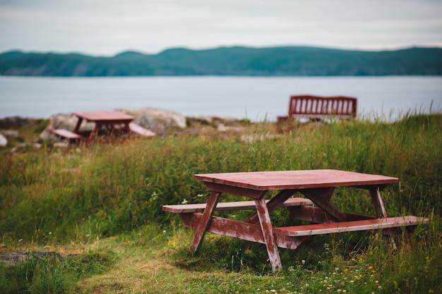 緑の芝生の上の茶色のピクニックテーブル
