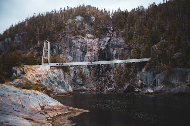 昼間の川に架かる白い橋
