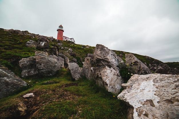昼間の曇り空の下で赤と白の灯台