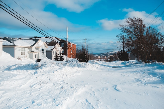 家と雪に覆われた風景