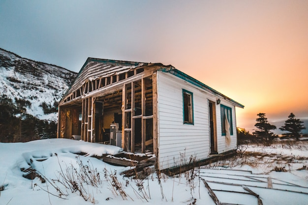 Белый и коричневый деревянный дом