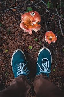 Пара сине-белых кроссовок крупным планом